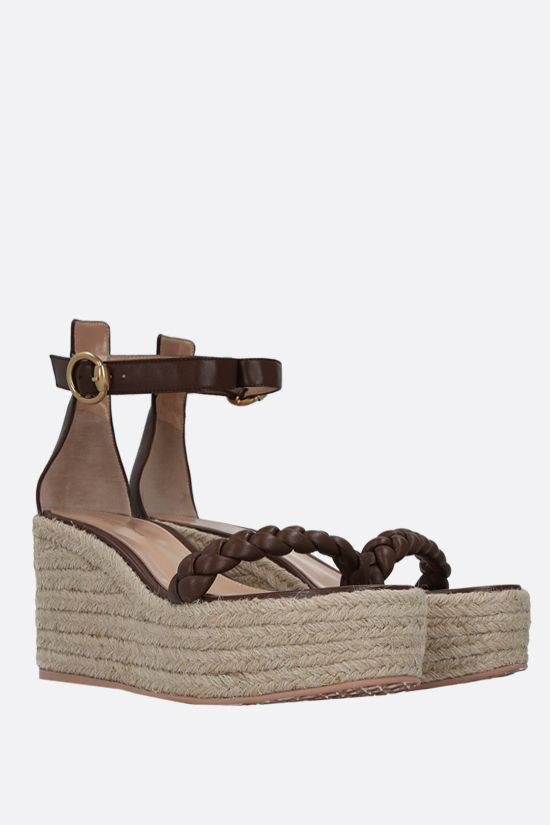 GIANVITO ROSSI: woven nappa wedge sandals Color Brown_2