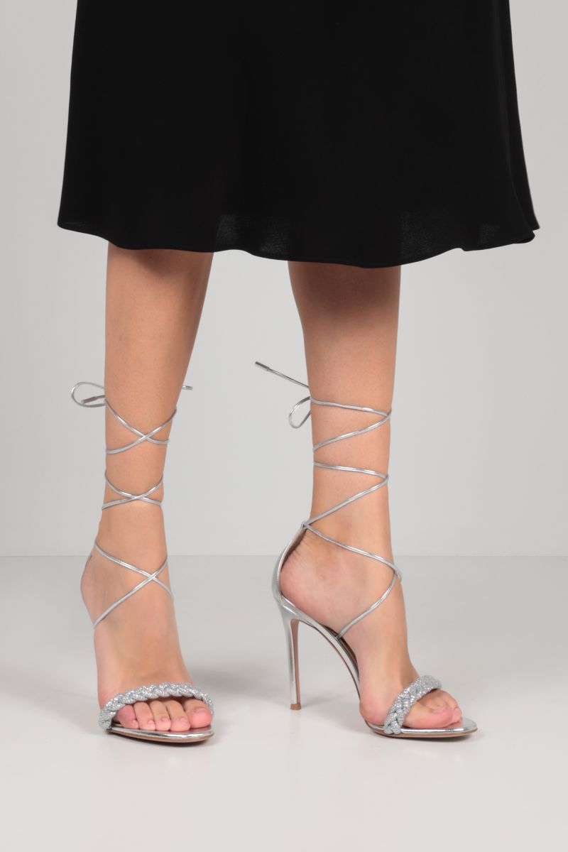 GIANVITO ROSSI: Crystal Leomi laminated leather sandals Color Silver_2