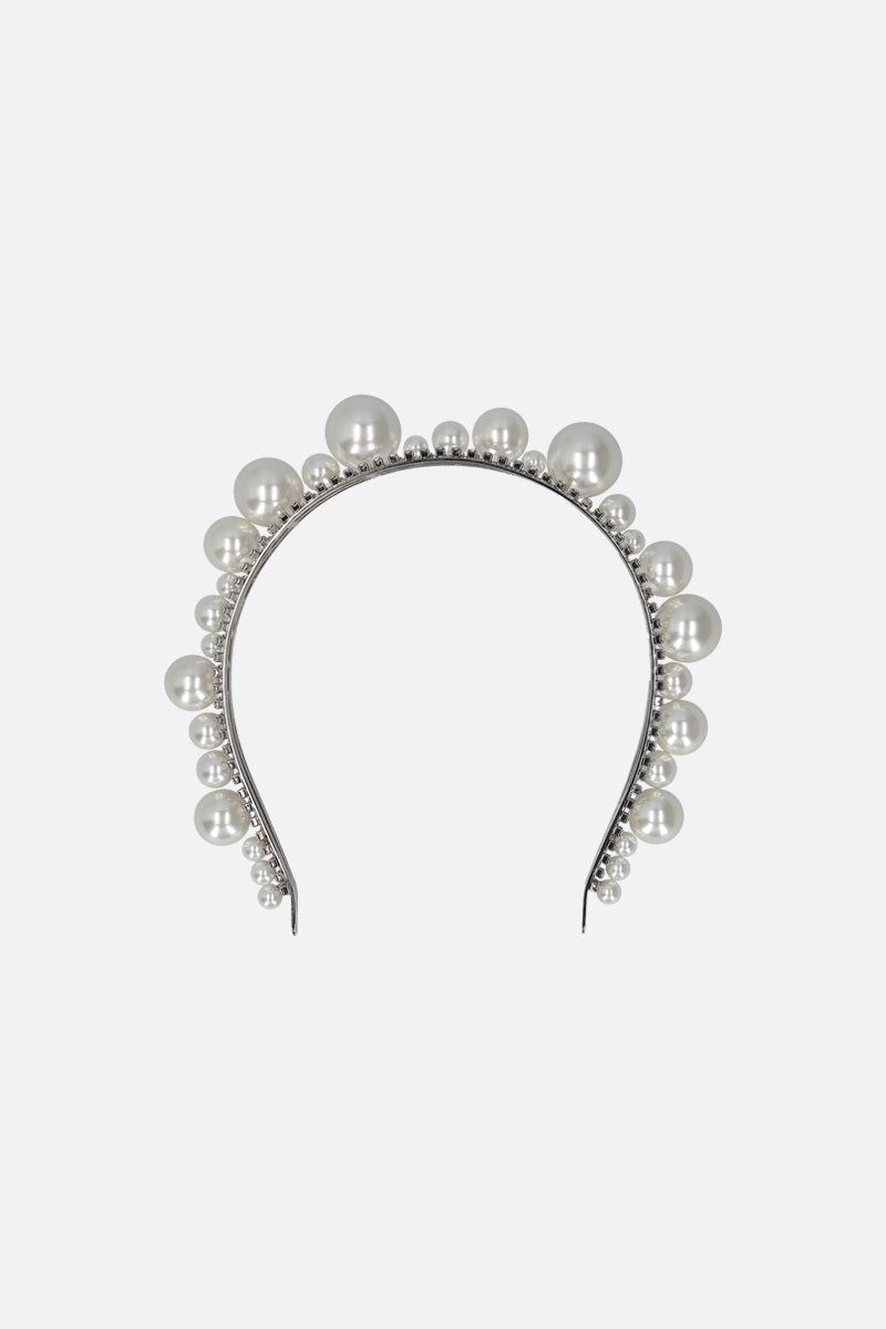 GIVENCHY: Ariana headband in pearls and crystals Color Silver_1