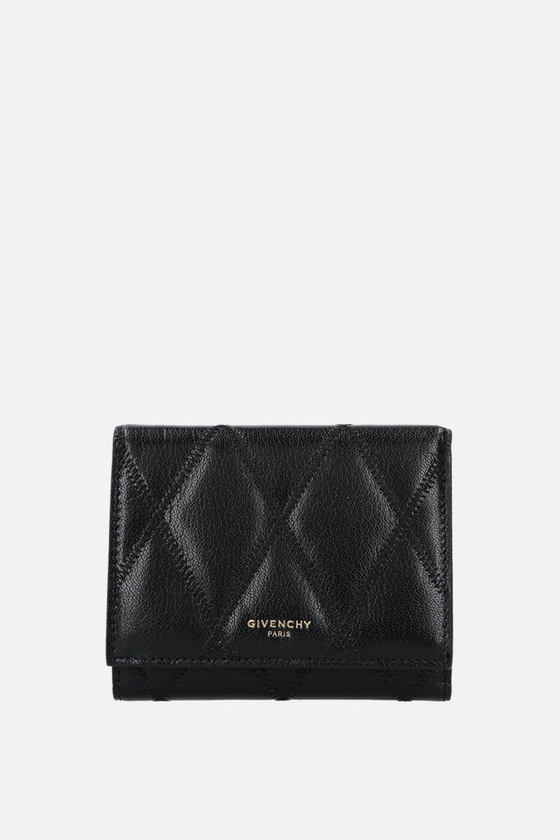 GIVENCHY: GV3 trifold wallet in quilted leather Color Black_1