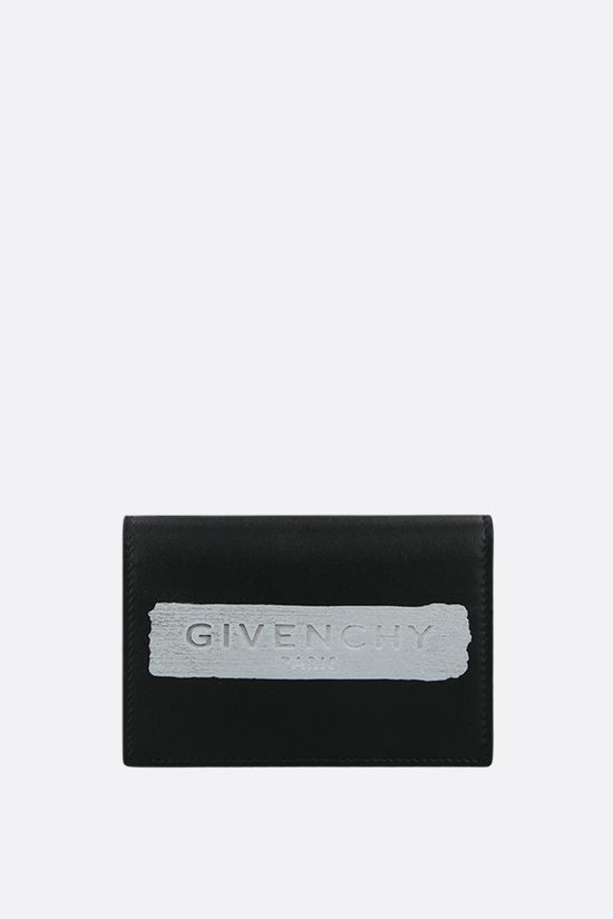 GIVENCHY: logo-detailed smooth leather card case Color Black_1