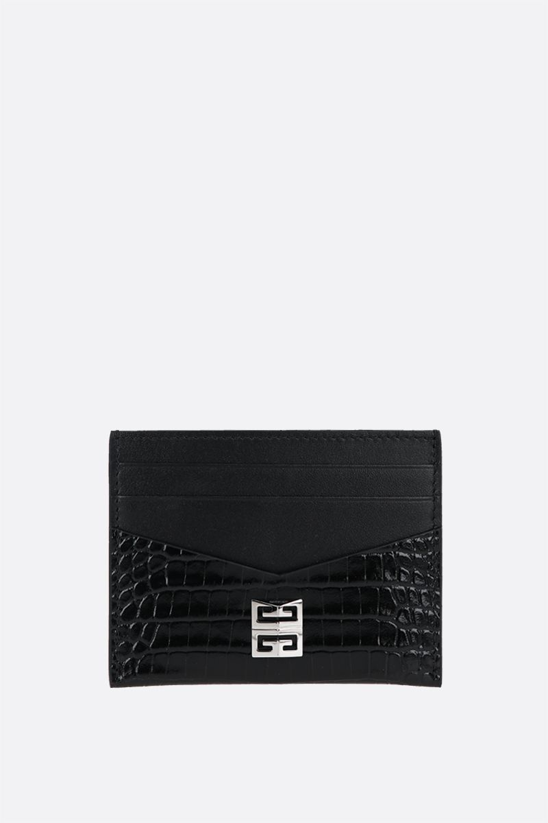 GIVENCHY: 4G logo-detailed smooth and croc-embossed leather card case Color Black_1