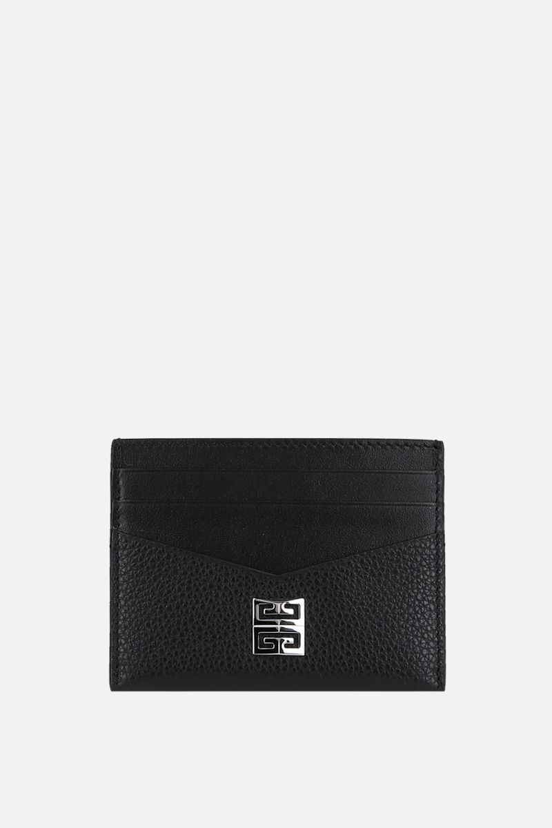GIVENCHY: 4G logo-detailed smooth and grainy leather card case Color Black_1