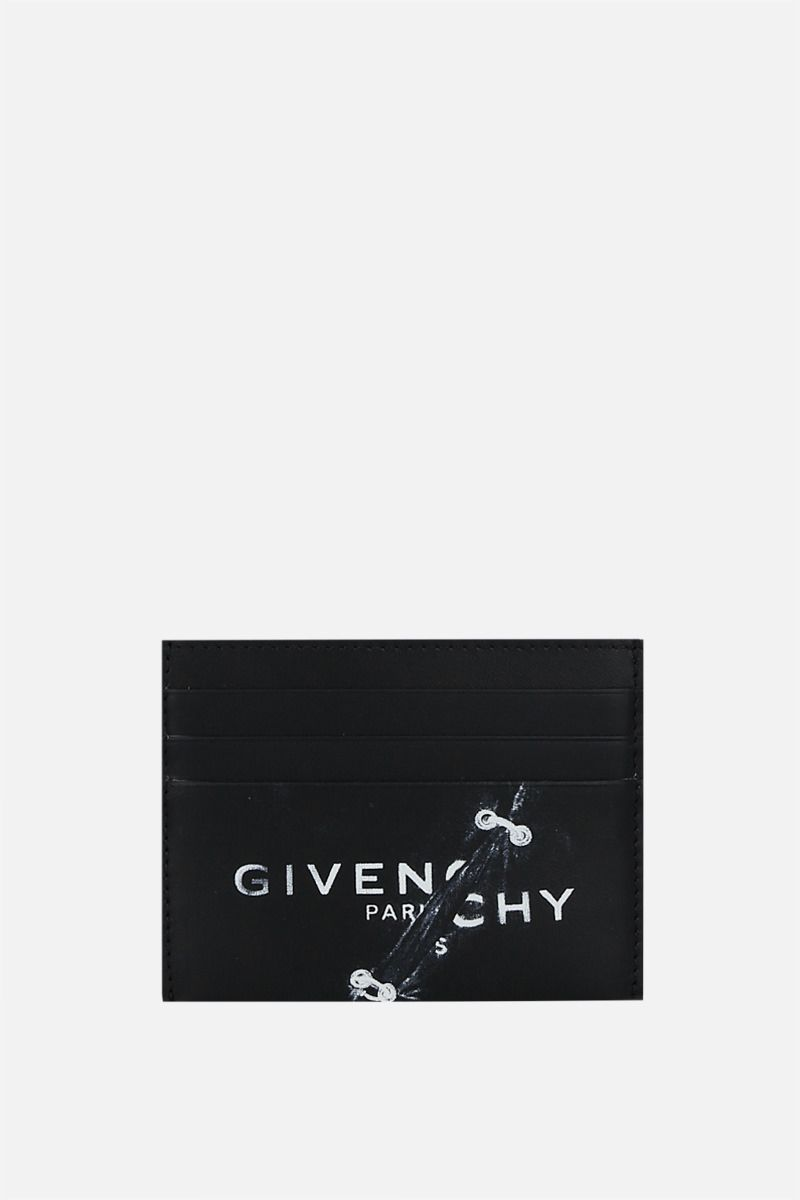 GIVENCHY: Givenchy Trompe-l'œil smooth leather card case Color Black_1