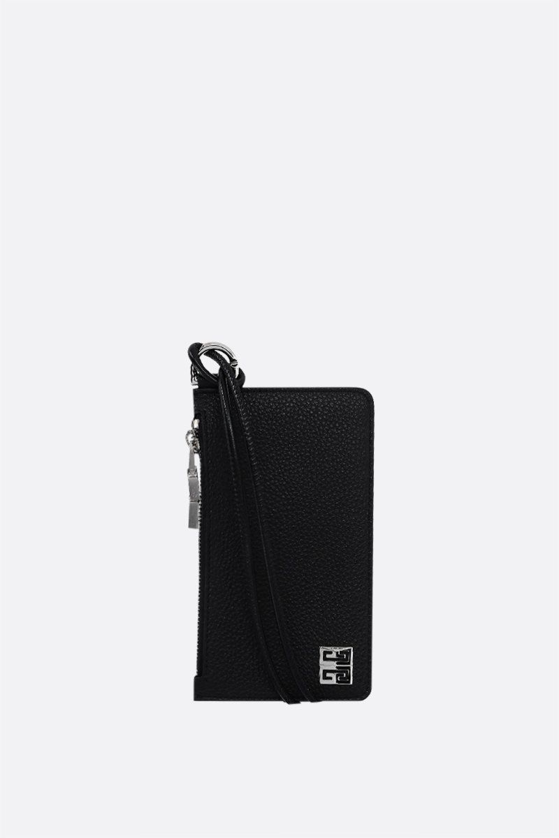 GIVENCHY: logo-detailed grainy leather card case Color Black_1