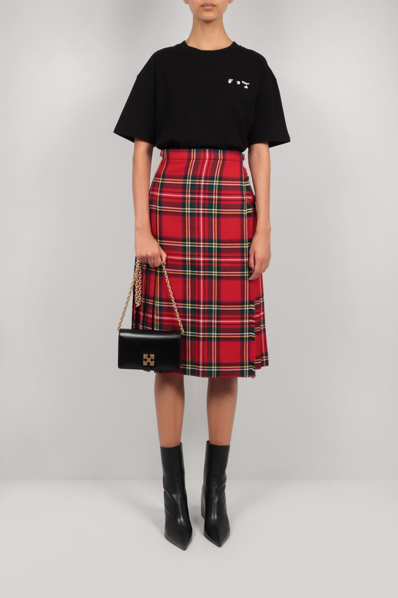 MOLLY GODDARD: Aria check wool wrap skirt Color Red_2