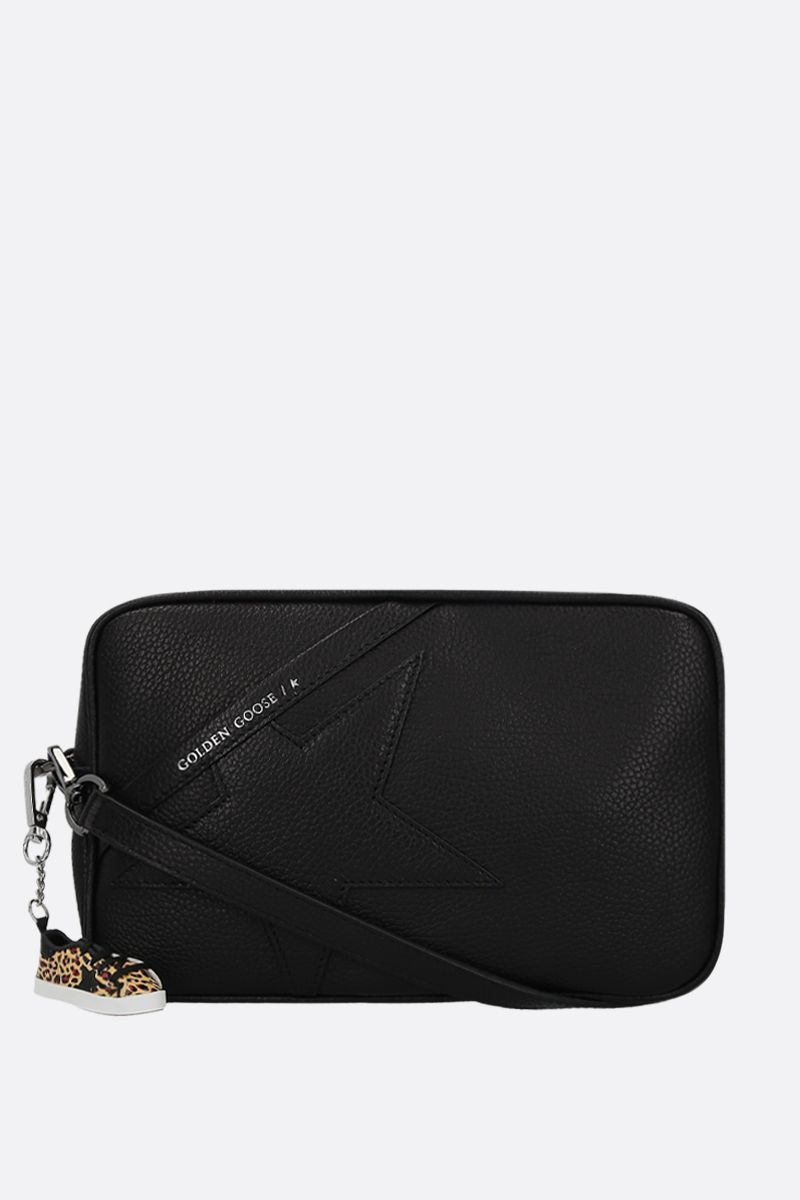 GOLDEN GOOSE DELUXE BRAND: Star crossbody bag in grainy leather Color Black_1