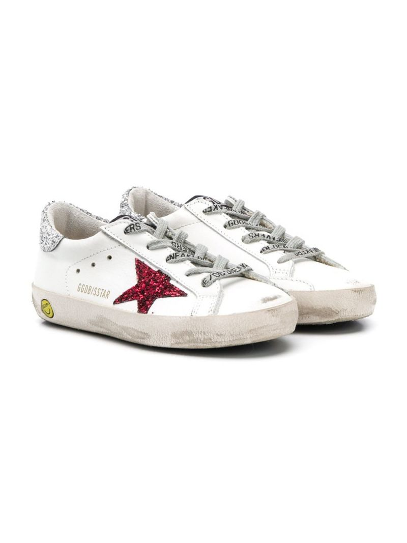 GOLDEN GOOSE DELUXE BRAND KIDS: Superstar smooth leather and glitter sneakers Color White_1