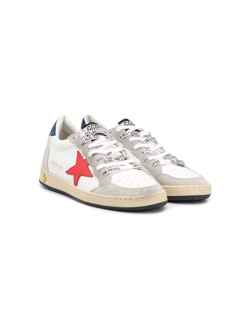 GOLDEN GOOSE DELUXE BRAND KIDS: Ball Star smooth leather and suede sneakers Color Multicolor_1