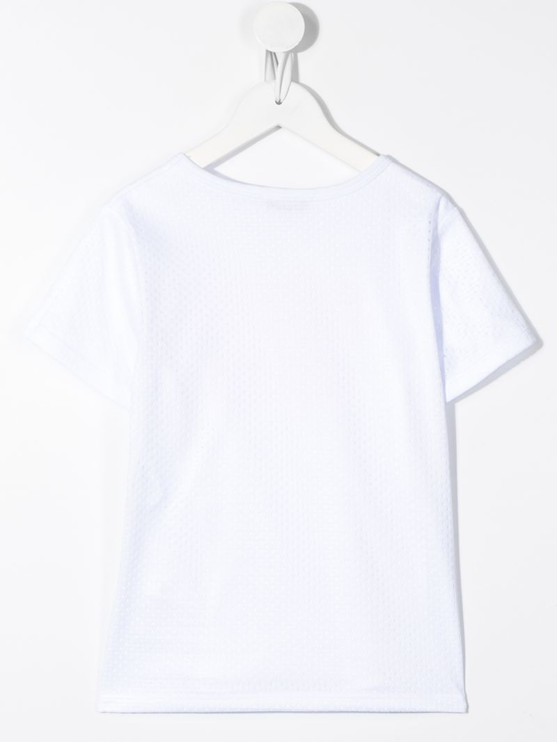 GOLDEN GOOSE DELUXE BRAND KIDS: Golden cotton and mesh t-shirt Color White_2