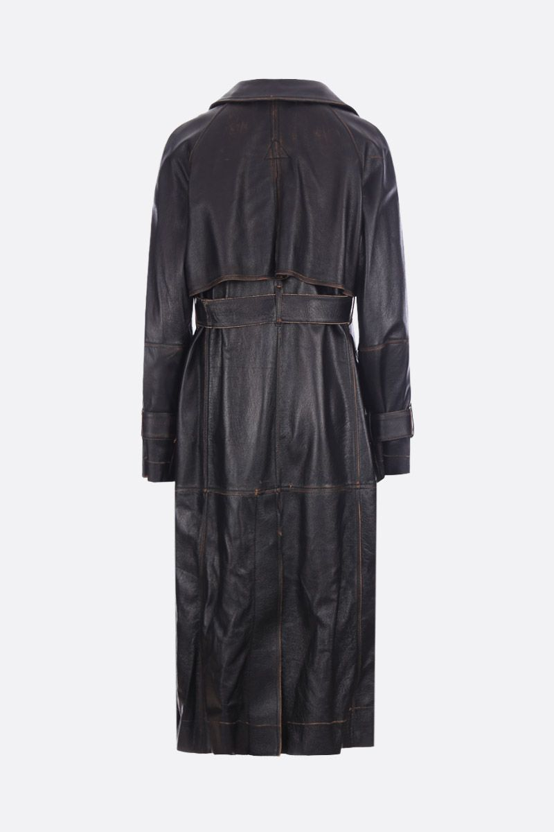 GOLDEN GOOSE DELUXE BRAND: Masami leather double-breasted trench coat Color Black_2