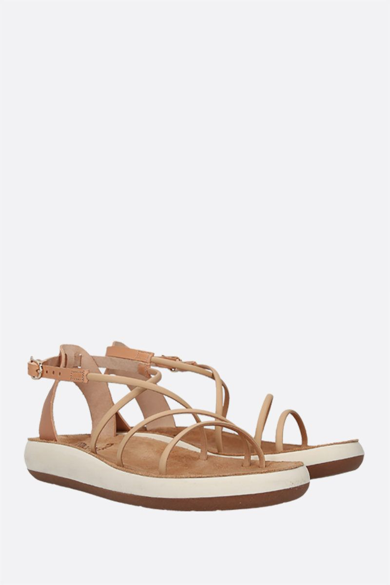 ANCIENT GREEK SANDALS: Anastasia smooth leather flatform sandals Color Neutral_2