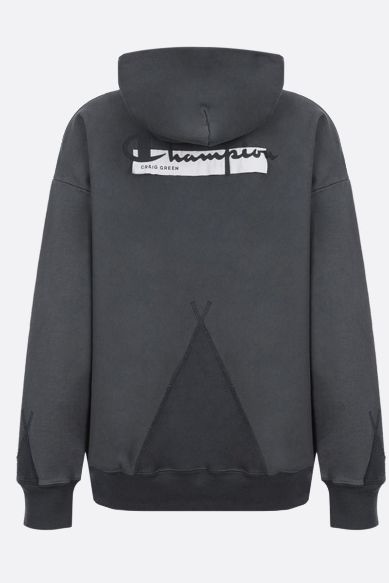 CHAMPION x CRAIG GREEN: Champion embroidered cotton blend hoodie Color Grey_2