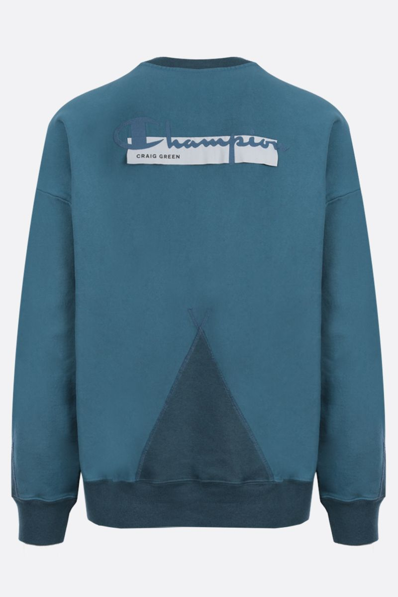 CHAMPION x CRAIG GREEN: Champion embroidered cotton blend sweatshirt Color Blue_2