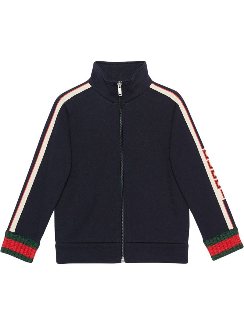 GUCCI CHILDREN: Gucci jacquard-detailed cotton full-zip sweatshirt Color Multicolor_1