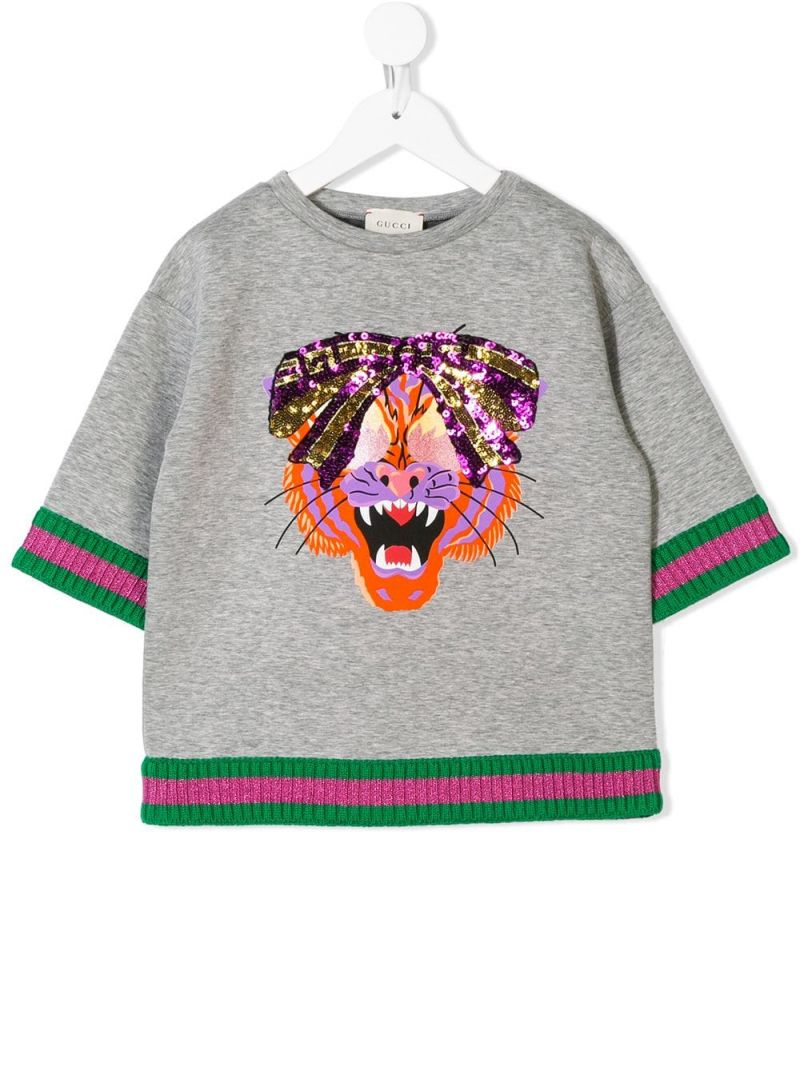 GUCCI CHILDREN: Tiger print cotton sweatshirt Color Multicolor_1