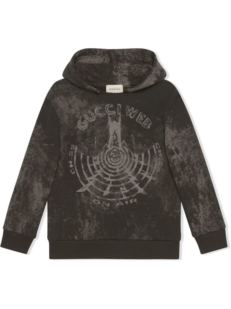 GUCCI CHILDREN: Gucci Web print cotton hoodie Color Grey_1