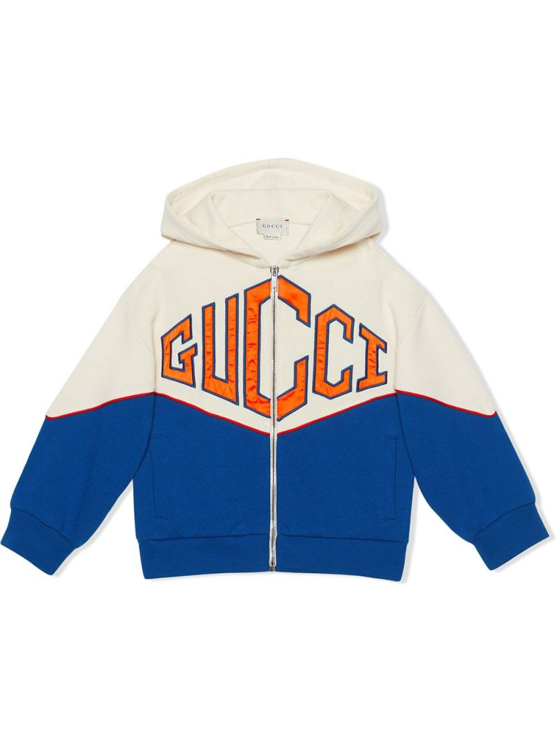 GUCCI CHILDREN: Gucci Game patch cotton full-zip hoodie_1