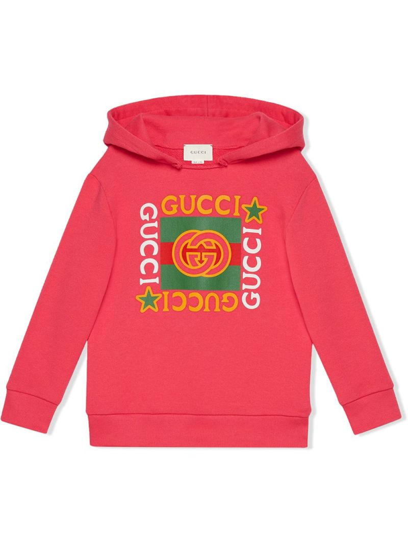 GUCCI CHILDREN: Gucci vintage print cotton hoodie Color Pink_1