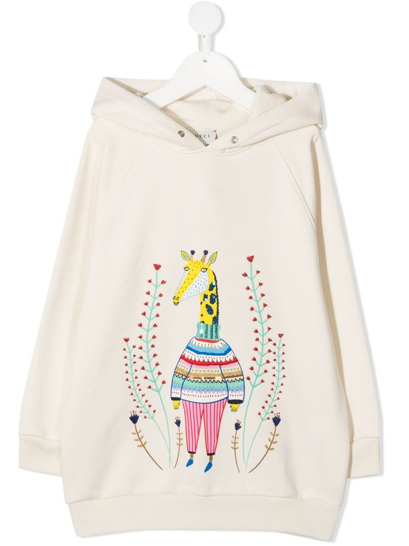 GUCCI CHILDREN: graphic print cotton hoodie Color White_1