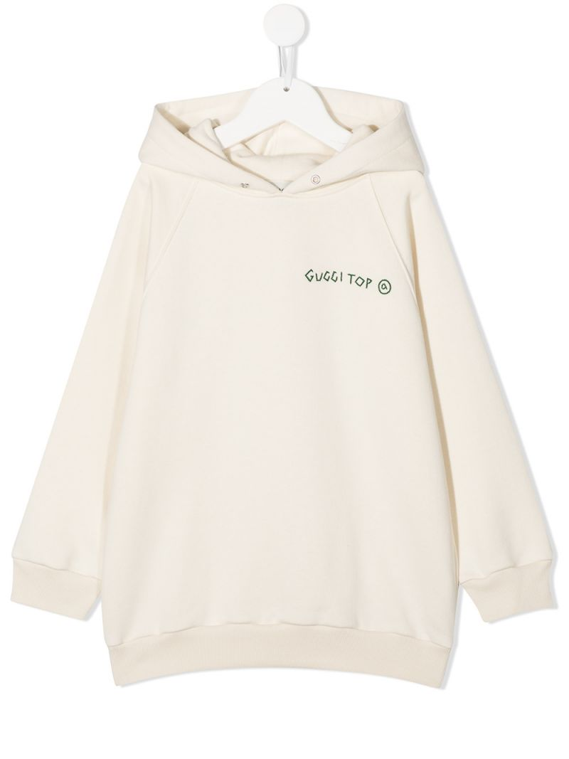 GUCCI CHILDREN: Gucci Top embroidered cotton hoodie Color White_1