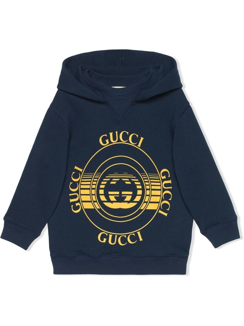 GUCCI CHILDREN: Gucci disk print cotton hoodie Color Blue_1