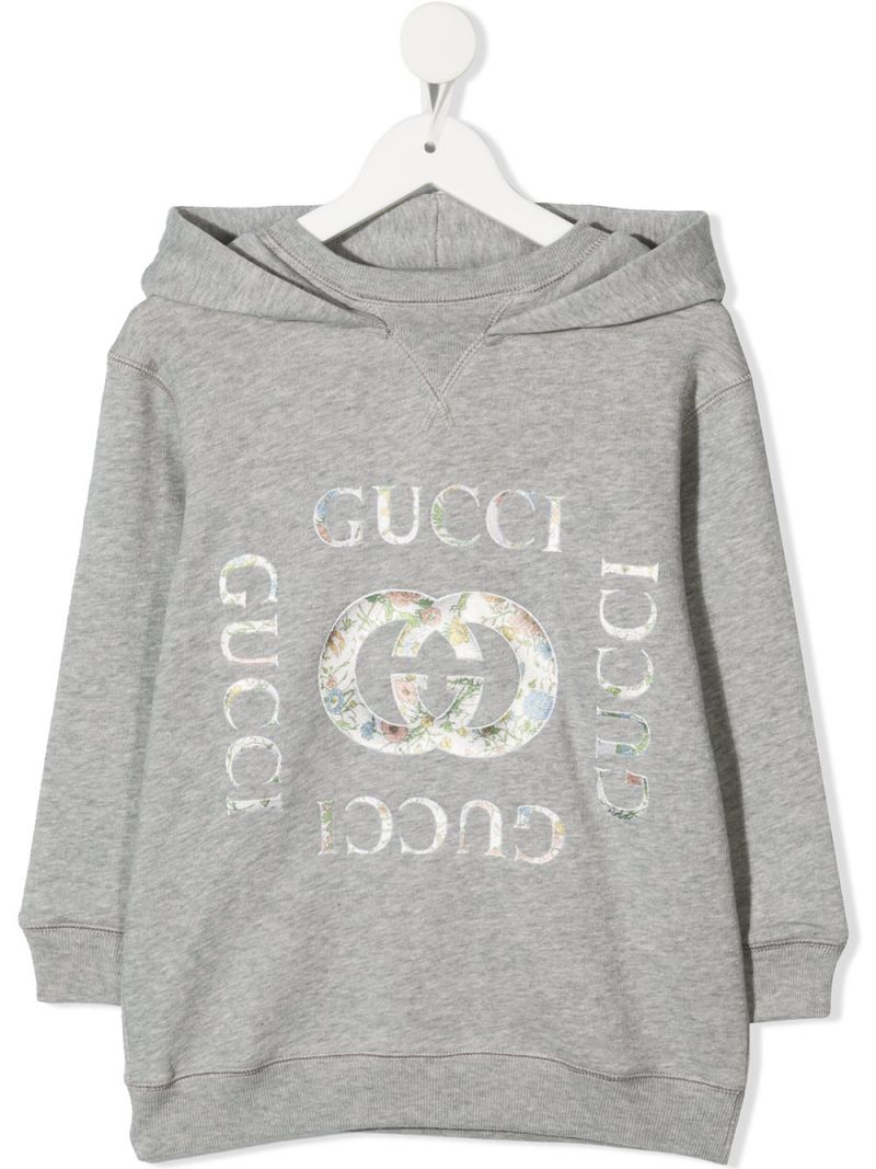 GUCCI CHILDREN: logo print cotton hoodie Color Grey_1