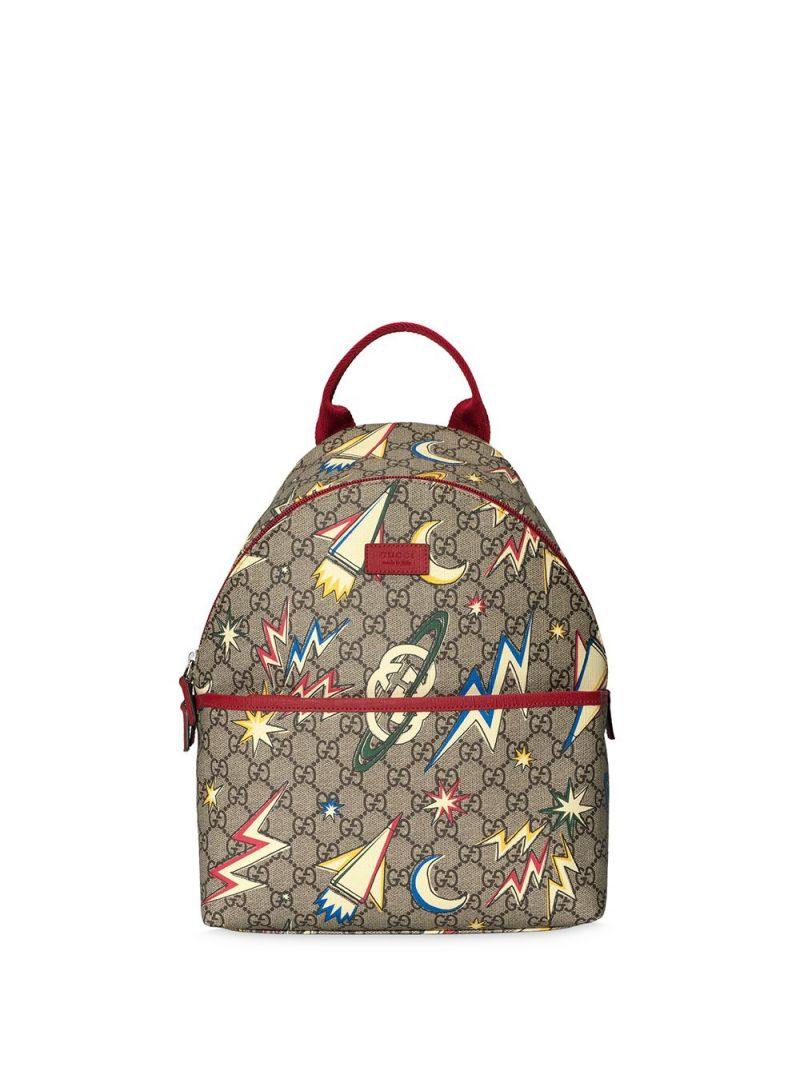 GUCCI CHILDREN: space print GG Supreme canvas backpack Color Multicolor_1