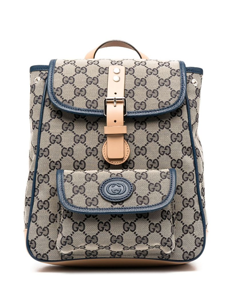 GUCCI CHILDREN: GG Supreme canvas backpack Color Blue_1