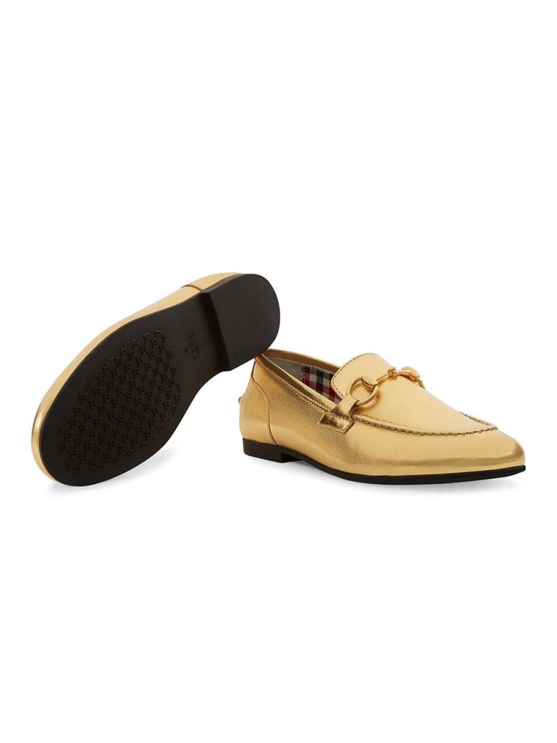GUCCI CHILDREN: Jordaan leather loafers Color Gold_2