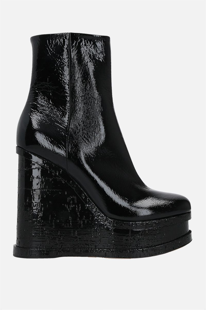 HAUS OF HONEY: Lacquer Doll naplak wedge booties Color Black_1