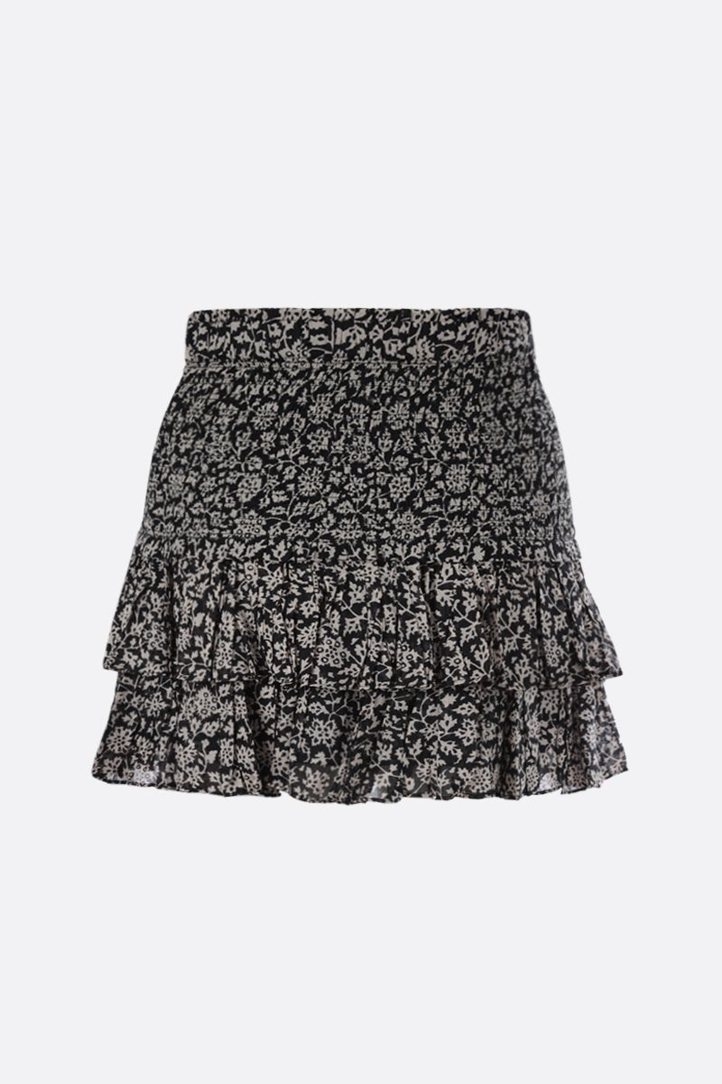 ISABEL MARANT ETOILE: Naomi printed cotton flounced miniskirt Color Black_2