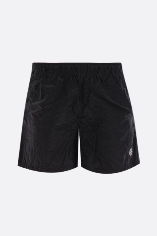 STONE ISLAND: reflective nylon swim shorts Color Black_1