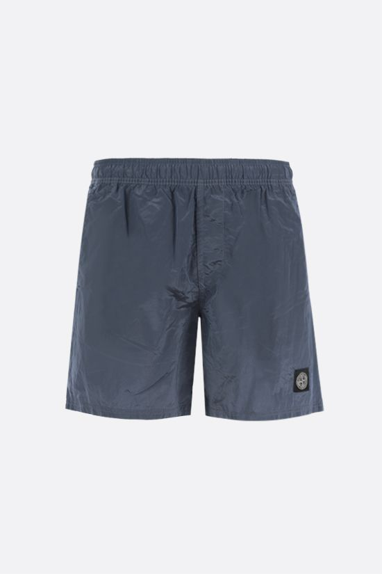 STONE ISLAND: reflective nylon swim shorts Color Silver_1