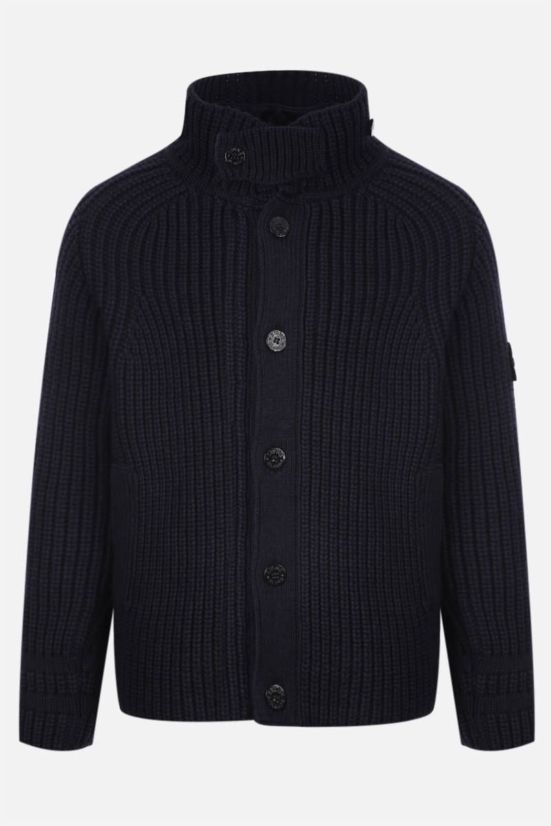 STONE ISLAND: knit jacket with detachable lining Color Blue_1