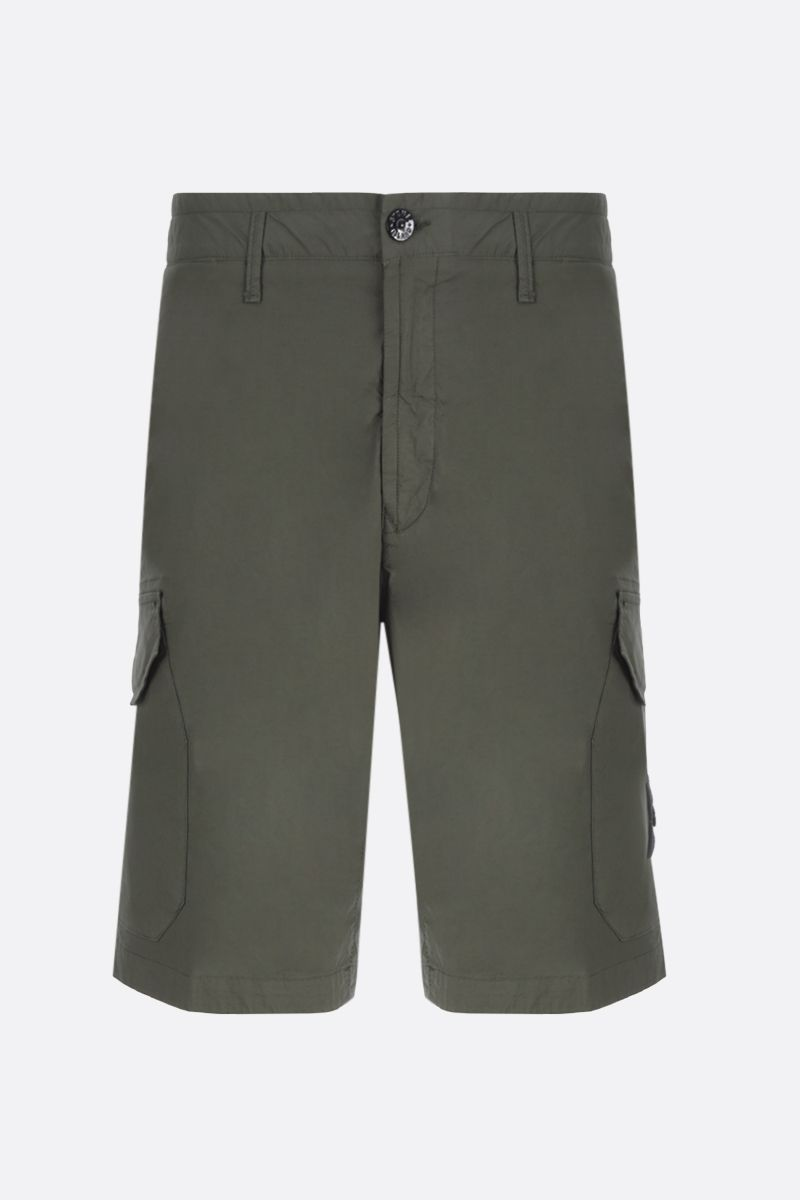 STONE ISLAND: stretch cotton cargo shorts Color Green_1