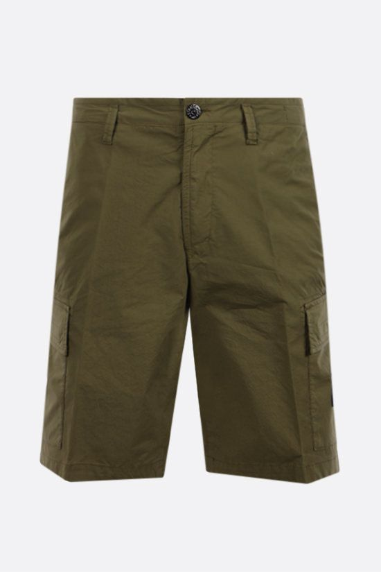 STONE ISLAND: logo badge-detailed stretch cotton shorts Color Green_1