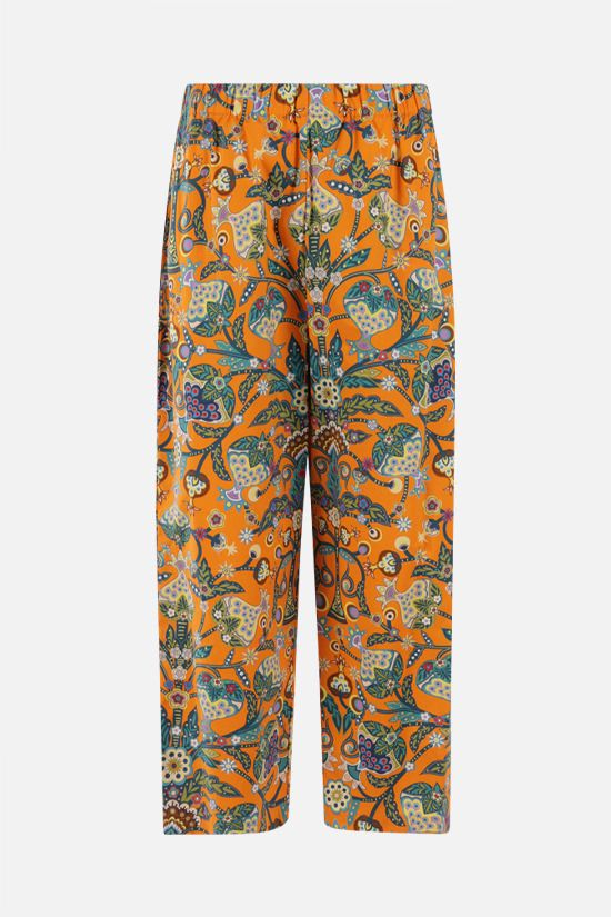 LA DOUBLE J: Tree Of Life print cropped pants Color Orange_1