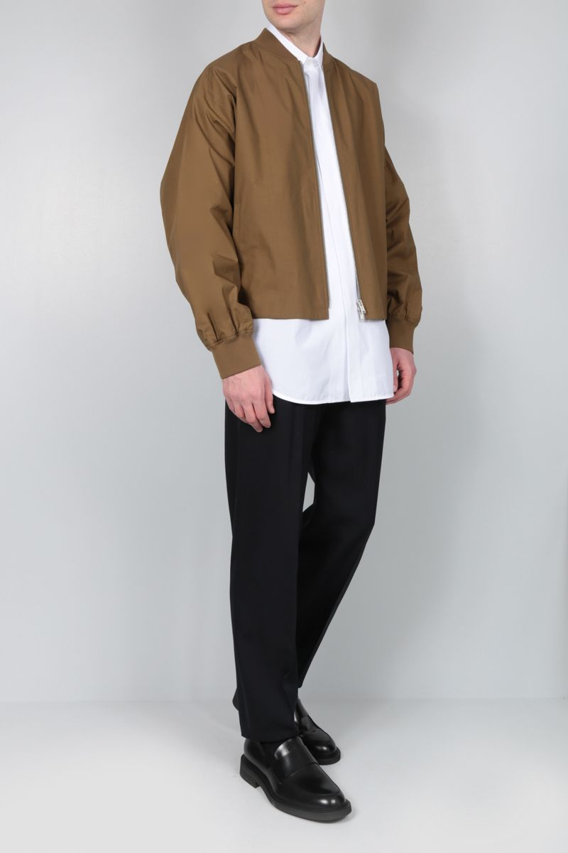 JIL SANDER: cotton bomber jacket Color Brown_2