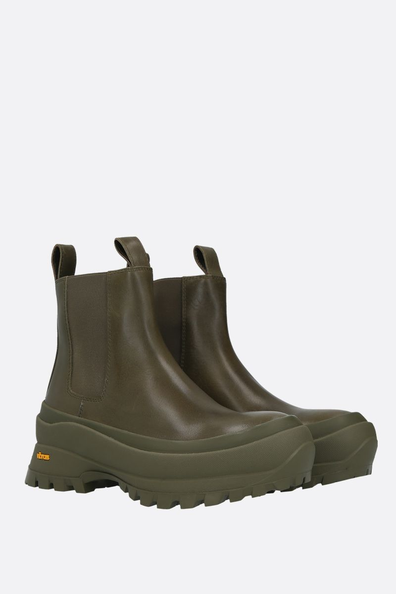 JIL SANDER: shiny leather rainy booties Color Green_2