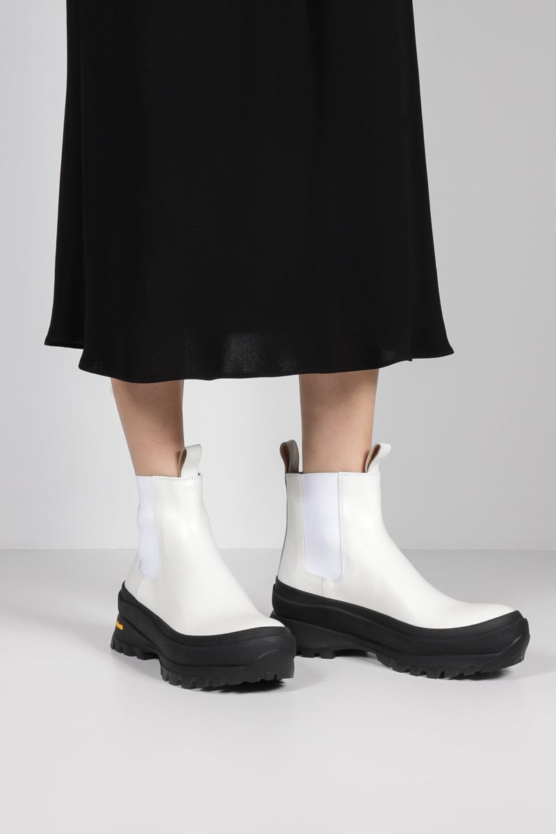 JIL SANDER: smooth leather chelsea boots Color White_2