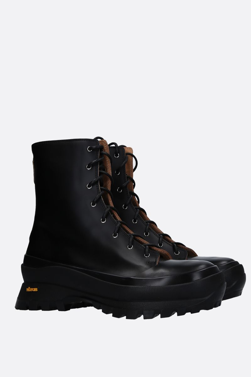 JIL SANDER: shiny leather combat boots Color Black_2