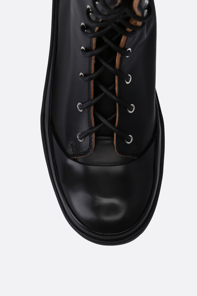JIL SANDER: shiny leather combat boots Color Black_4