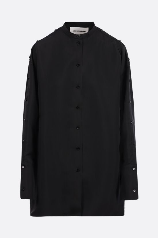 JIL SANDER: silk blend long shirt Color Black_1