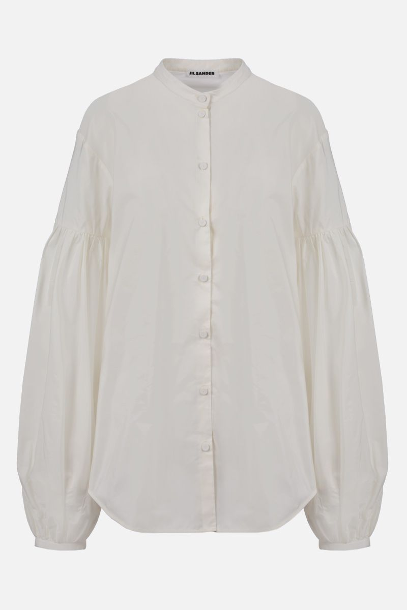 JIL SANDER: puff sleeve-detailed taffetà shirt Color White_1