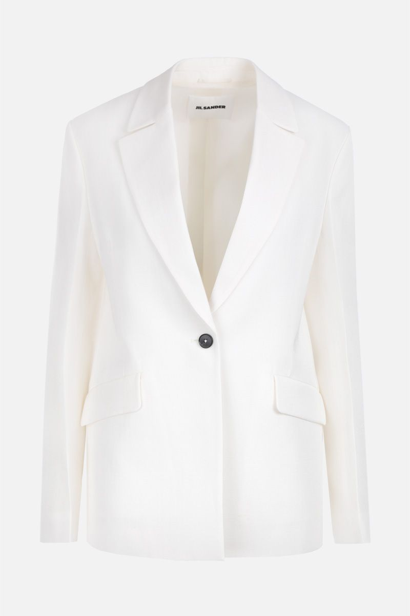 JIL SANDER: Marcel single-breasted jacket in silk blend Color Neutral_1