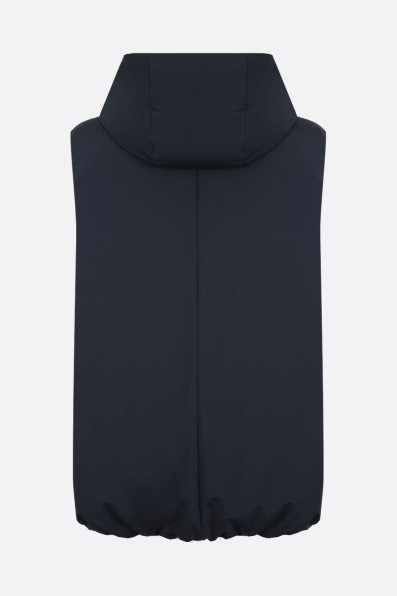 JIL SANDER: oversized nylon sleeveless down jacket Color Blue_2