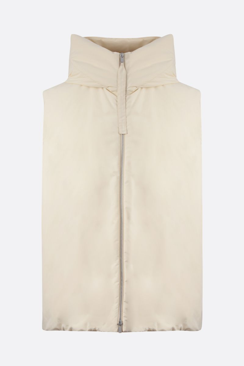 JIL SANDER: technical fabric sleeveless down jacket Color Neutral_1