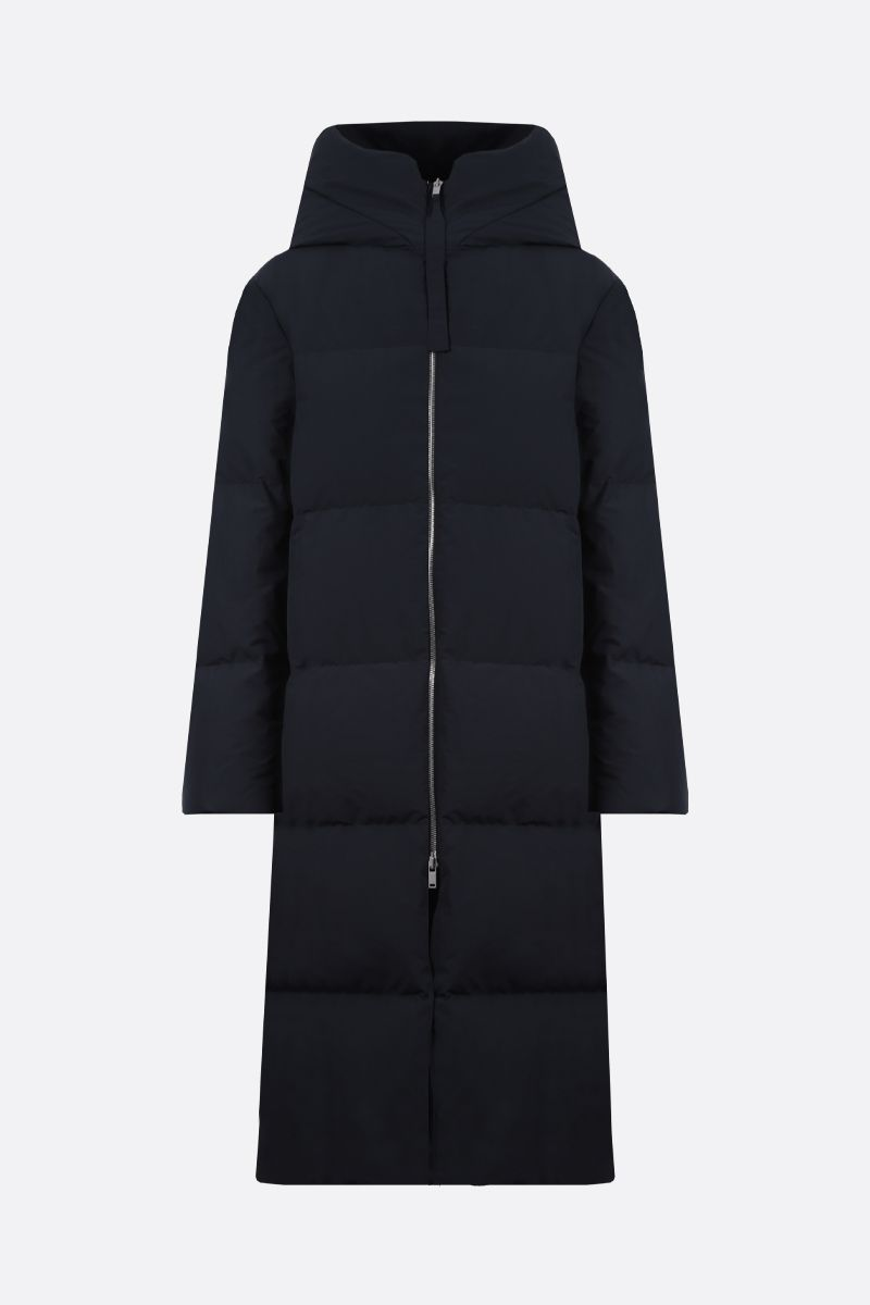 JIL SANDER: nylon hooded down jacket Color Blue_1