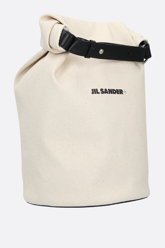 JIL SANDER: logo print canvas backpack Color Neutral_2